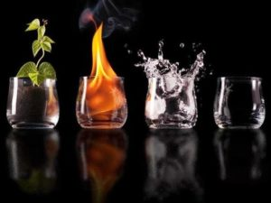 4 elementos naturales: tierra, agua, viento y fuego